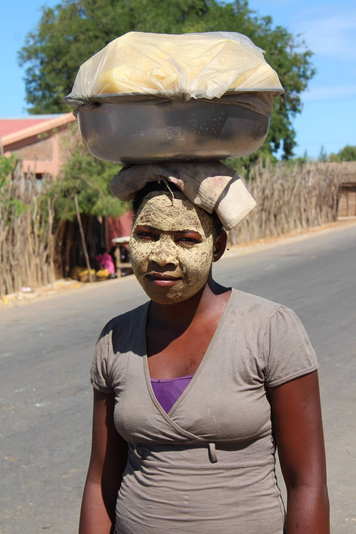 "locals use an indigenous bark for sun protection and ""skin tightening"""